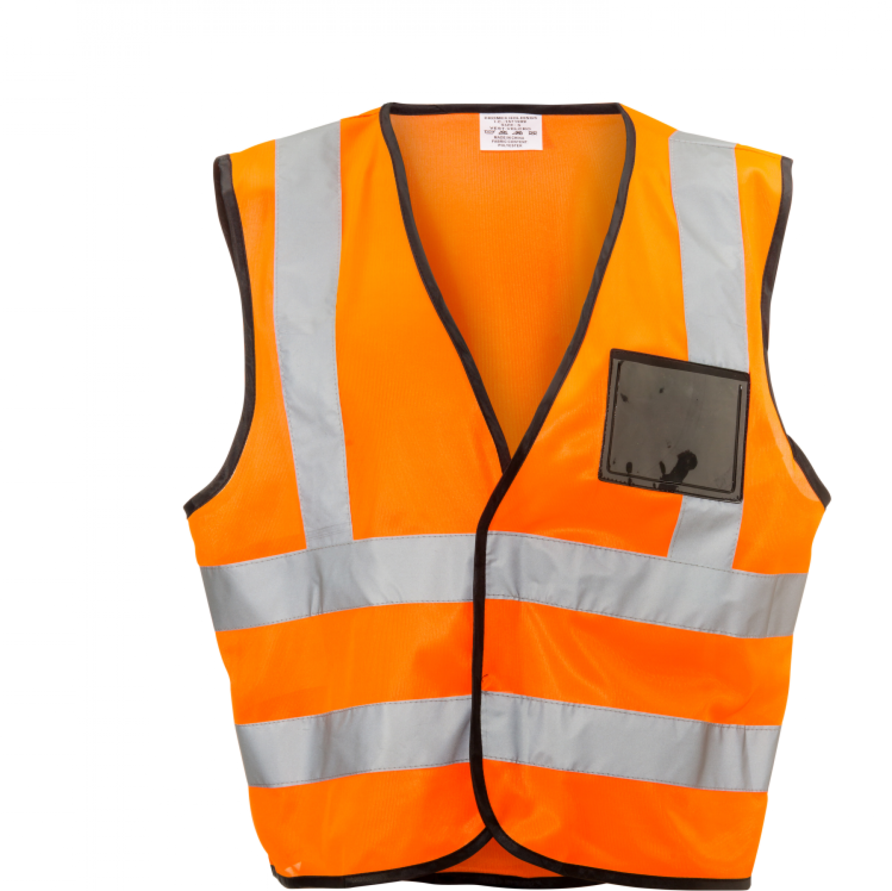 Orange Reflective Vest, Velcro, Id Pouch Large
