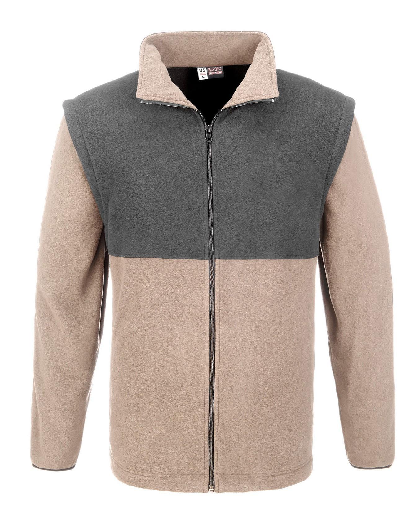 Mens Benneton Zip-off Micro Fleece Jacket - Khaki Only