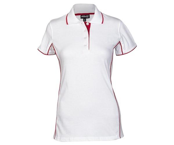 Ladies Denver Golf Shirt - White And Red Only