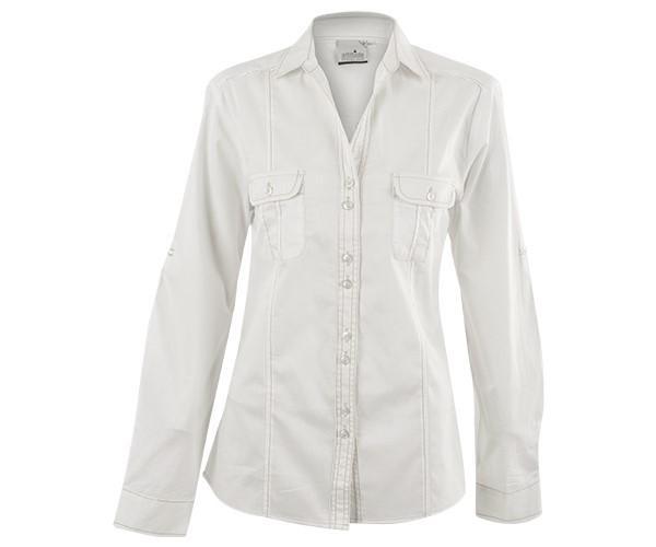 Ladies Long Sleeve Inyala Shirt - Orange And White Only