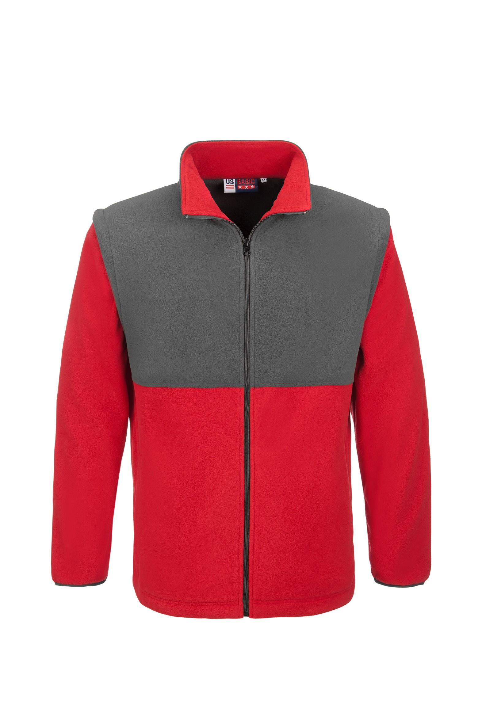 Mens Benneton Zip-off Micro Fleece Jacket - Red Only
