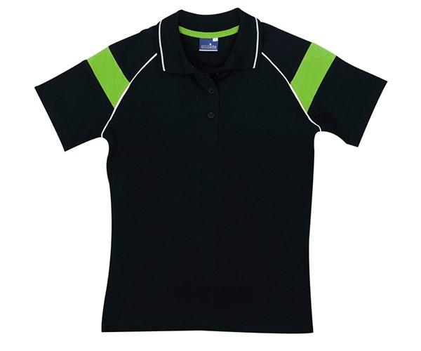 Ladies Score Golf Shirt - Black And Lime Only