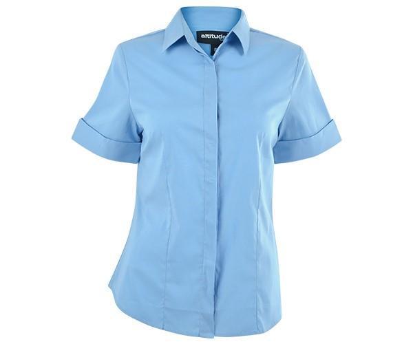 Denise Short Sleeve Blouse - Sky Blue Only