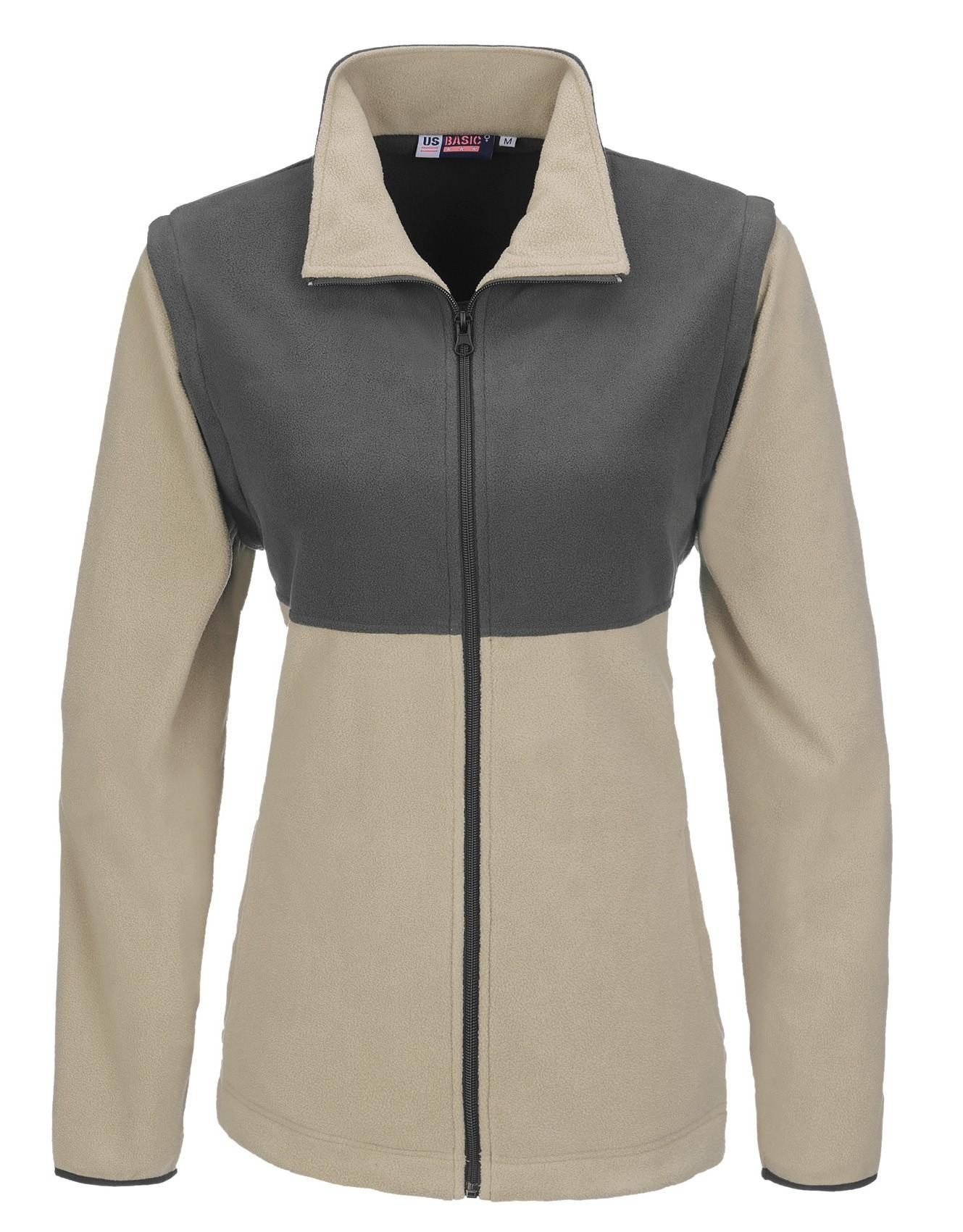 Ladies Benneton Zip-off Micro Fleece Jacket - Khaki Only