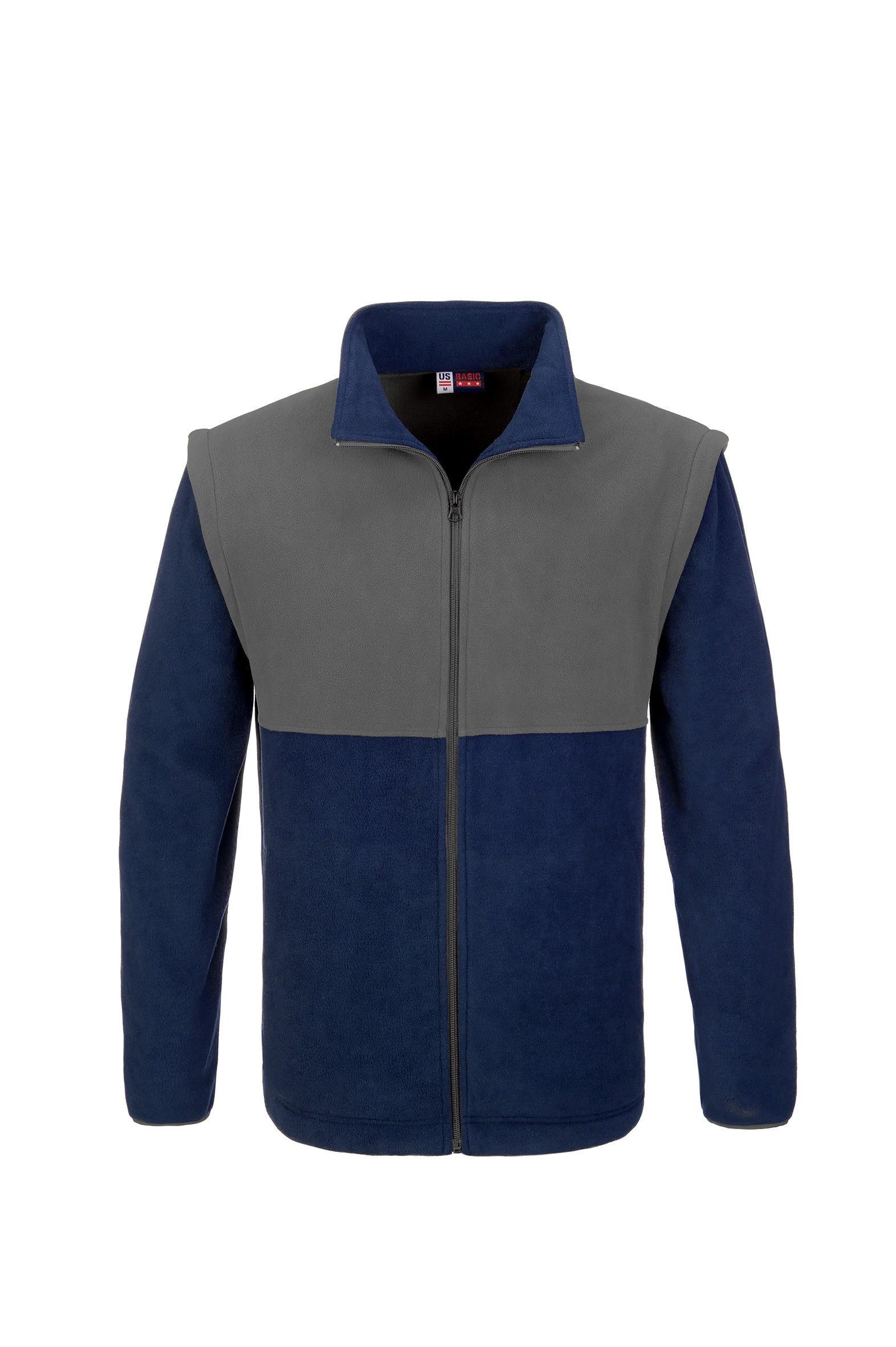 Mens Benneton Zip-off Micro Fleece Jacket - Navy Only