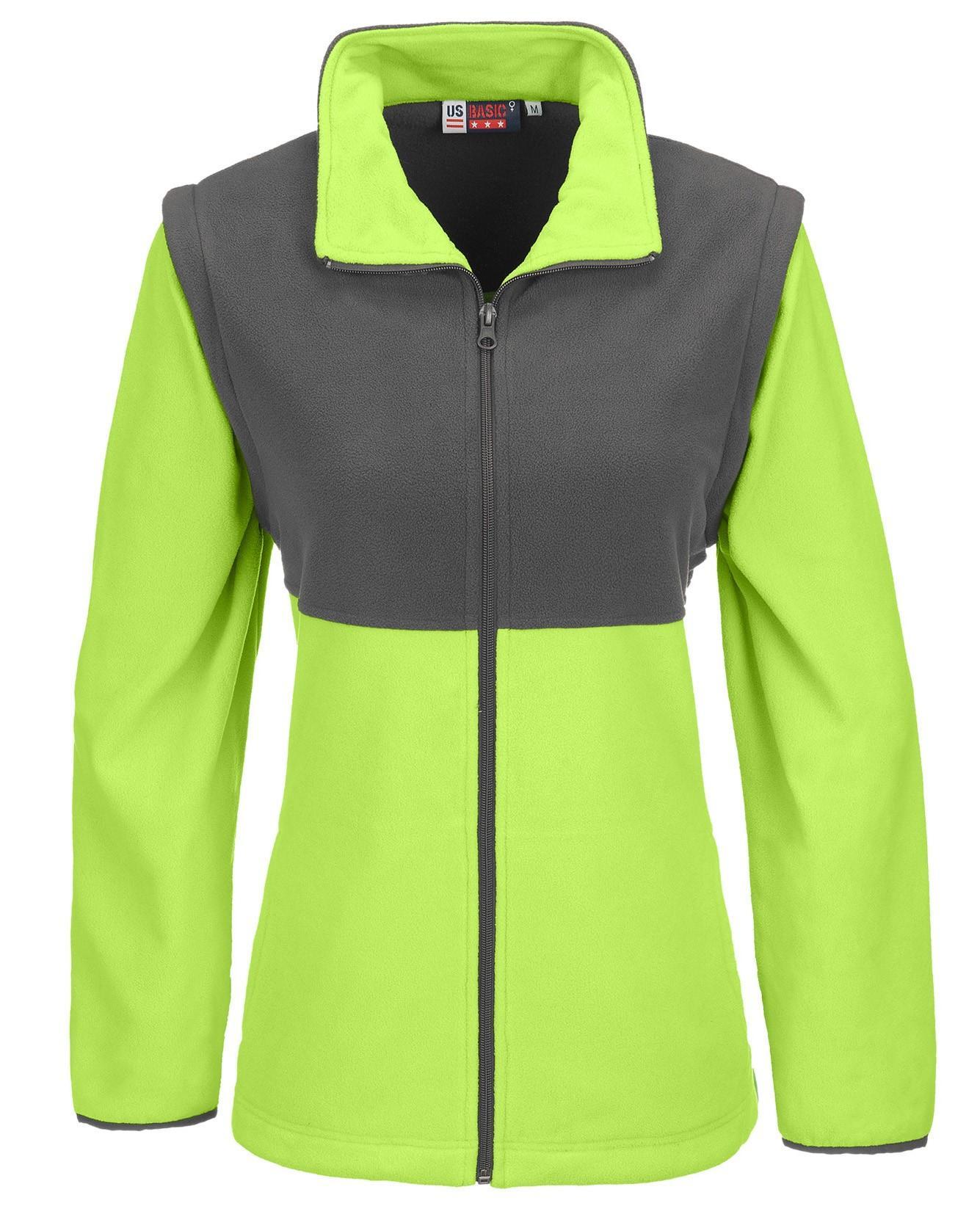 Ladies Benneton Zip-off Micro Fleece Jacket - Lime Only