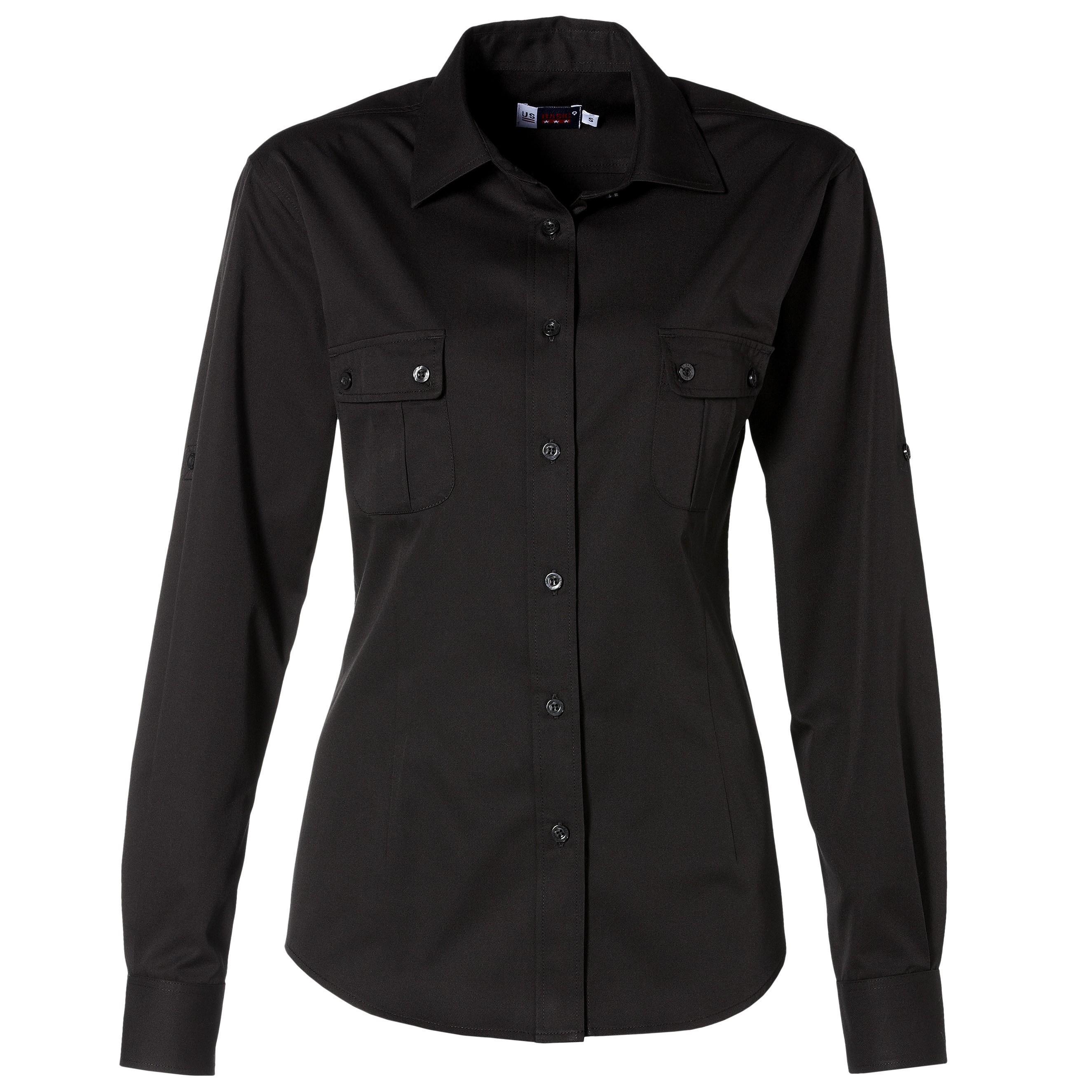 Us Basic Safari Ladies Long Sleeve Shirt - Black Only