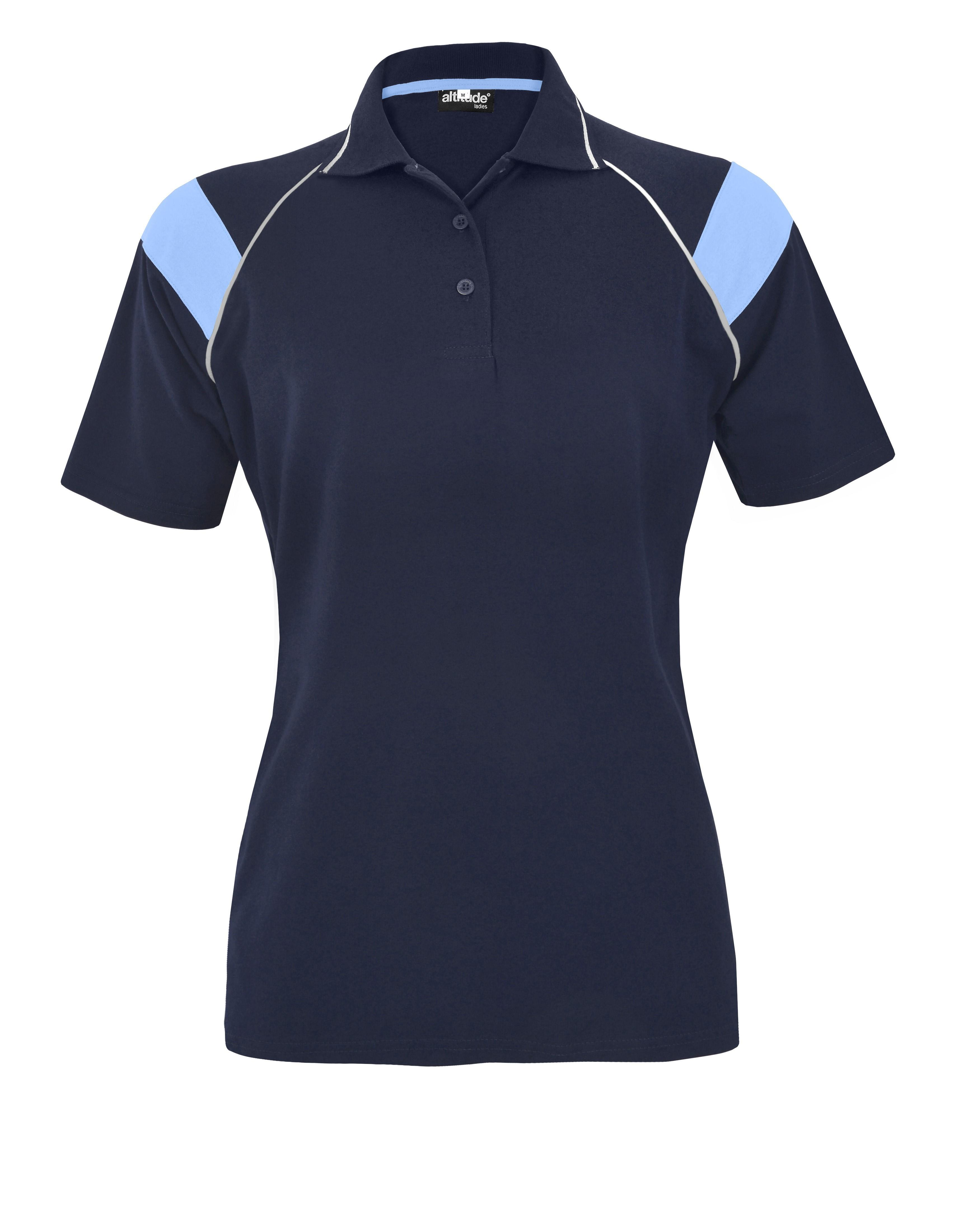 Ladies Score Golf Shirt - Navy And Light Blue Only