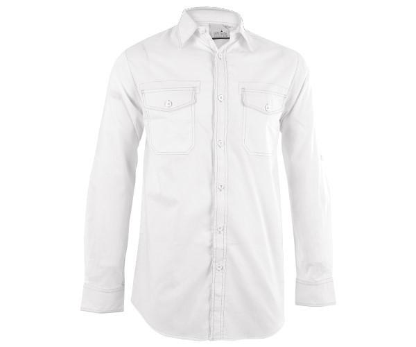 Mens Long Sleeve Inyala Shirt - White Only