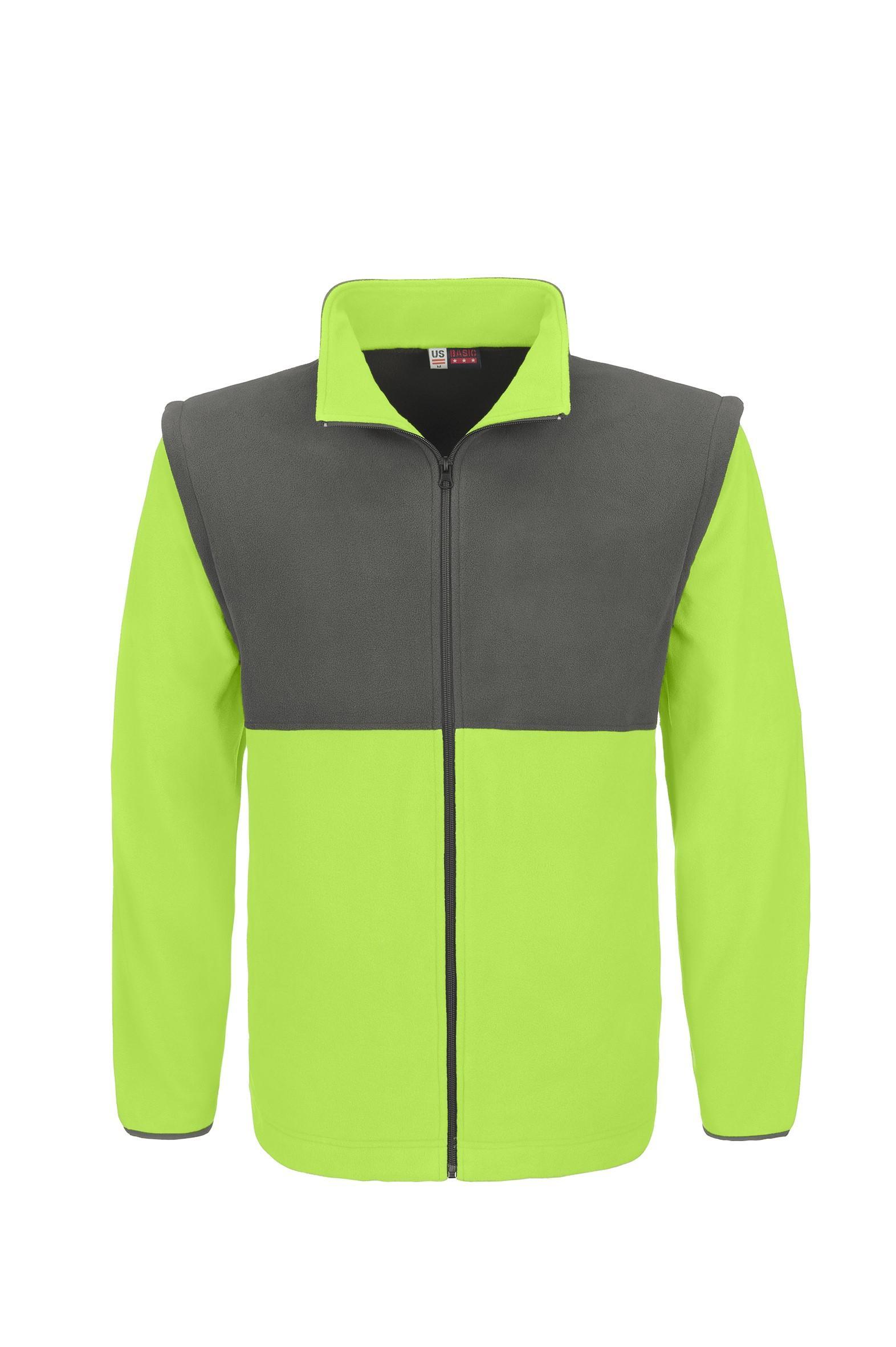 Mens Benneton Zip-off Micro Fleece Jacket - Lime Only