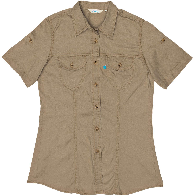 Salty Lds Khaki / Olive / Taupe / Stone / Airforce Short Sleeve Safari Bush Shirt - Slim Fit 8-28