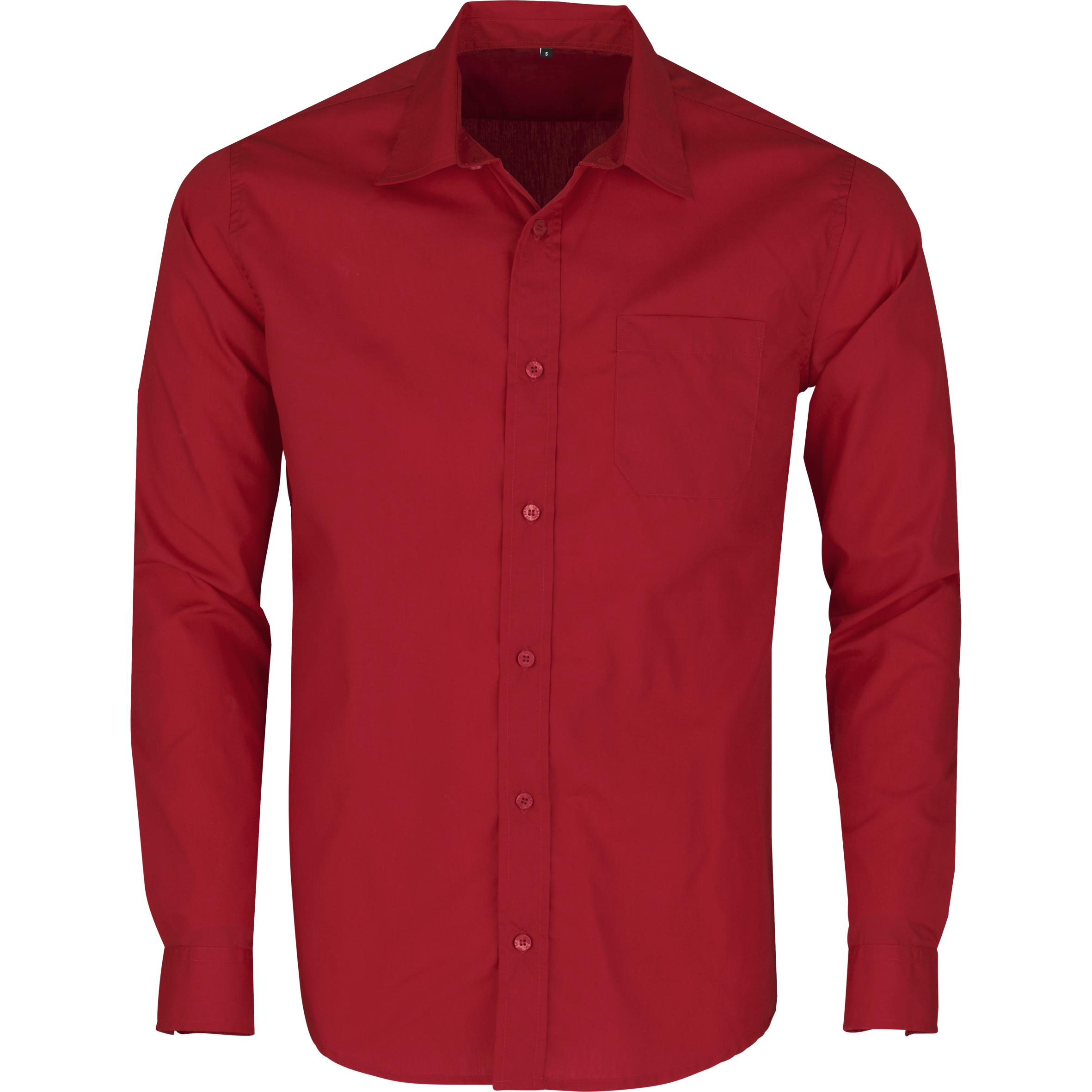 Mens Long Sleeve Kensington Shirt - Red Only