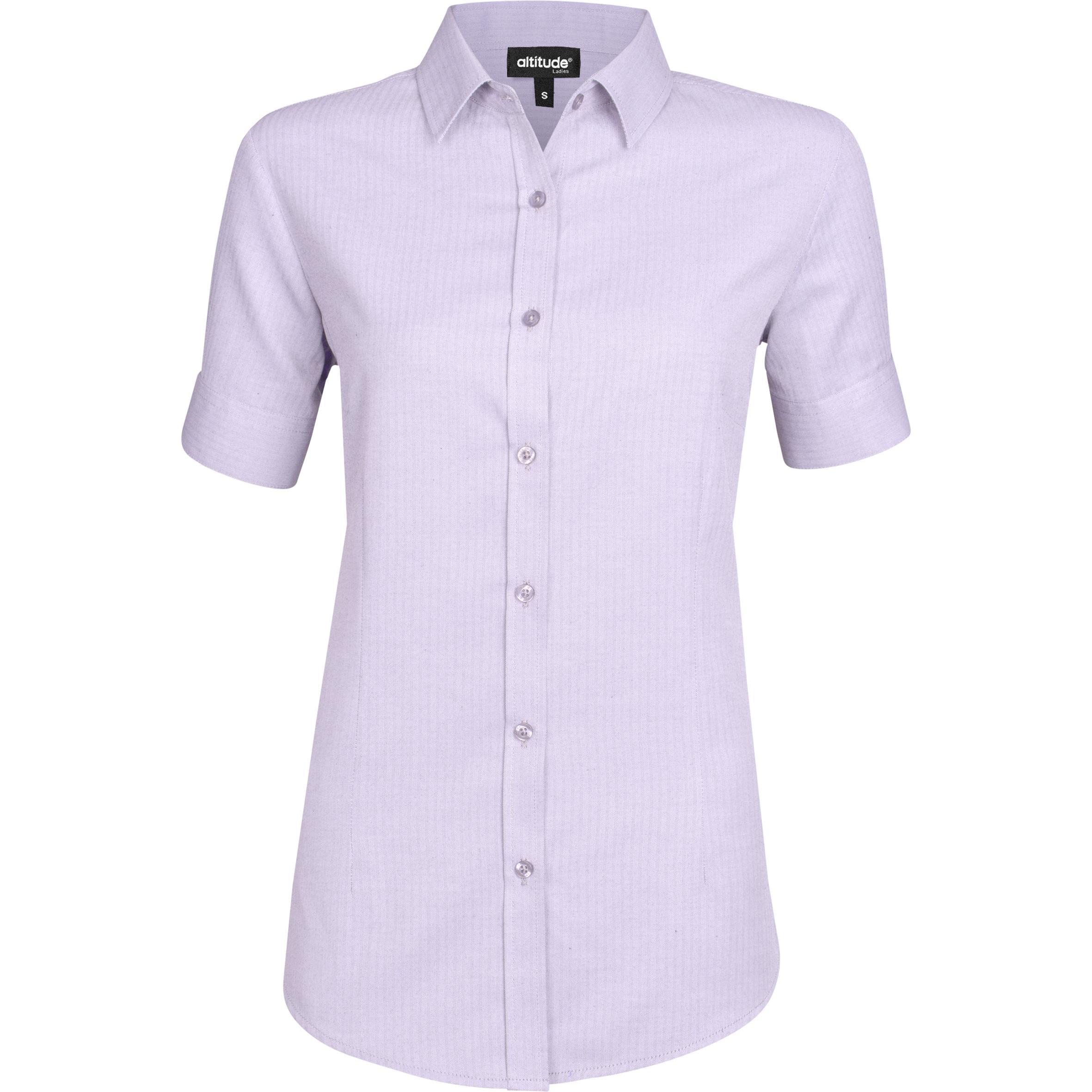 Ladies Short Sleeve Nottingham Shirt - Purple Only