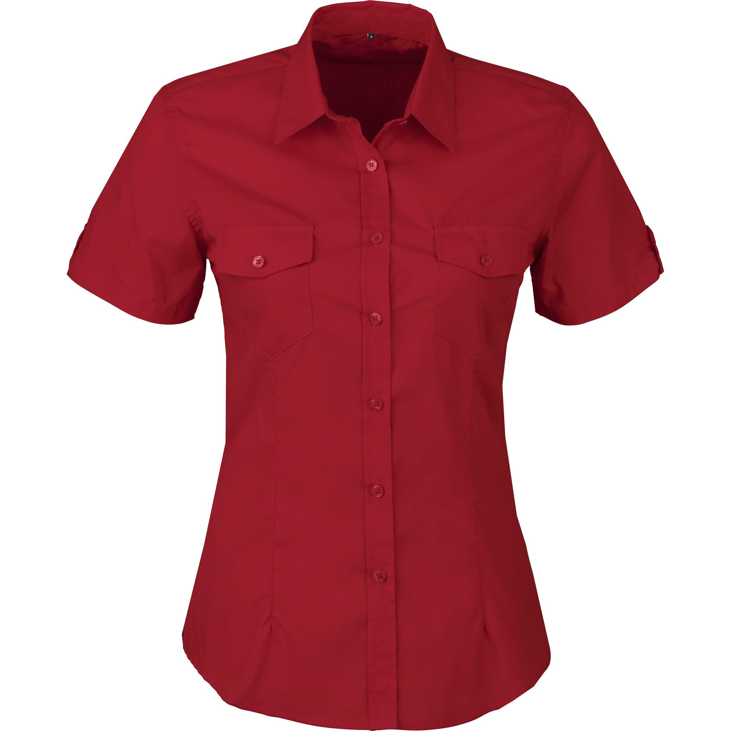 Ladies Short Sleeve Kensington Shirt - Red Only