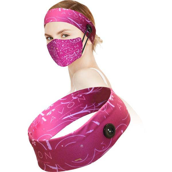 Ava Sublimated Headband With Buttons For Mask