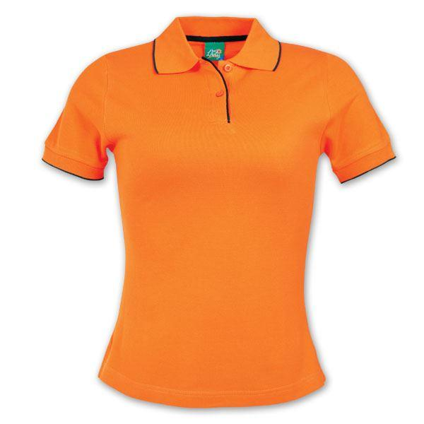 Ladies Contrast Trim Pique Knit Polo - Orange/black - While Stocks Last