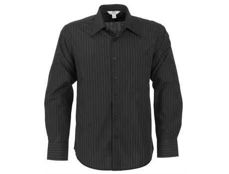 Mens Long Sleeve Manhattan Striped Shirt - Black Only