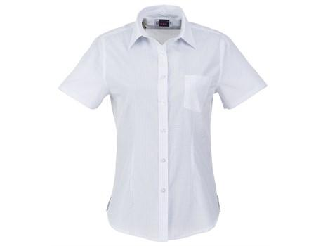 Ladies Short Sleeve Huntington Shirt - White With Light Blue Only