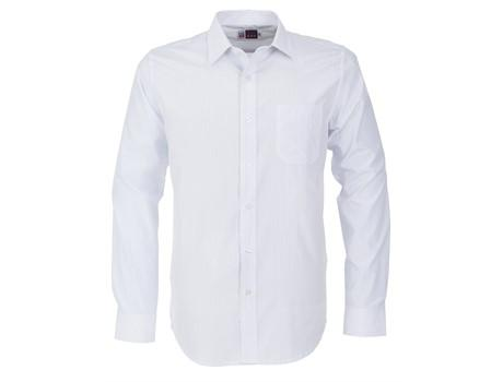 Mens Long Sleeve Huntington Shirt - White With Light Blue Only