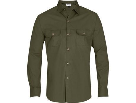 Mens Long Sleeve Oryx Bush Shirt - Military Green Only