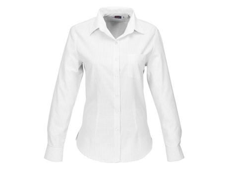 Ladies Long Sleeve Huntington Shirt - White With Black Only