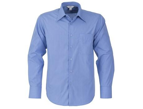 Mens Long Sleeve Manhattan Striped Shirt - Light Blue Only