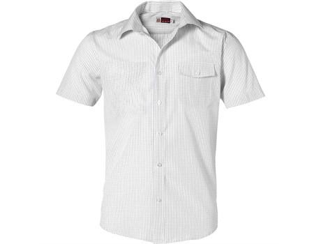 Mens Short Sleeve Huntington Shirt - White With Black Only