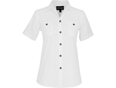 Ladies Short Sleeve Oryx Bush Shirt -white Only