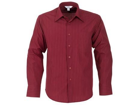 Mens Long Sleeve Manhattan Striped Shirt - Red Only