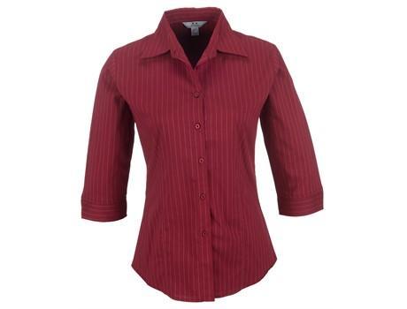 Ladies 3/4 Sleeve Manhattan Striped Shirt - Red Only