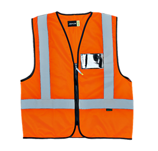 En4 Style Trichot Solid Sleeveless Reflective Vest With Zip Orange Id Pocket