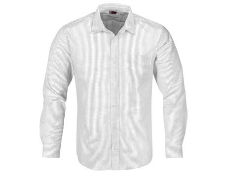 Mens Long Sleeve Huntington Shirt - White With Black Only