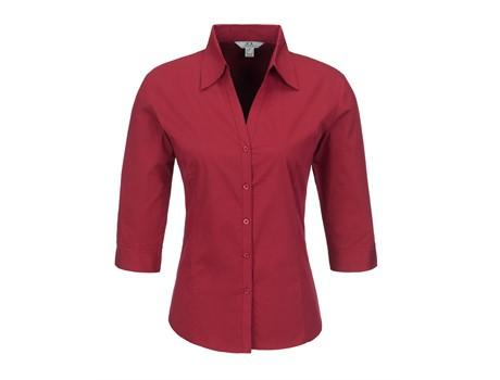 Ladies 3/4 Sleeve Metro Shirt - Red Only