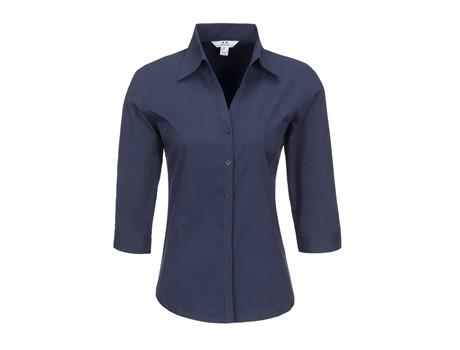 Ladies 3/4 Sleeve Metro Shirt - Navy Only