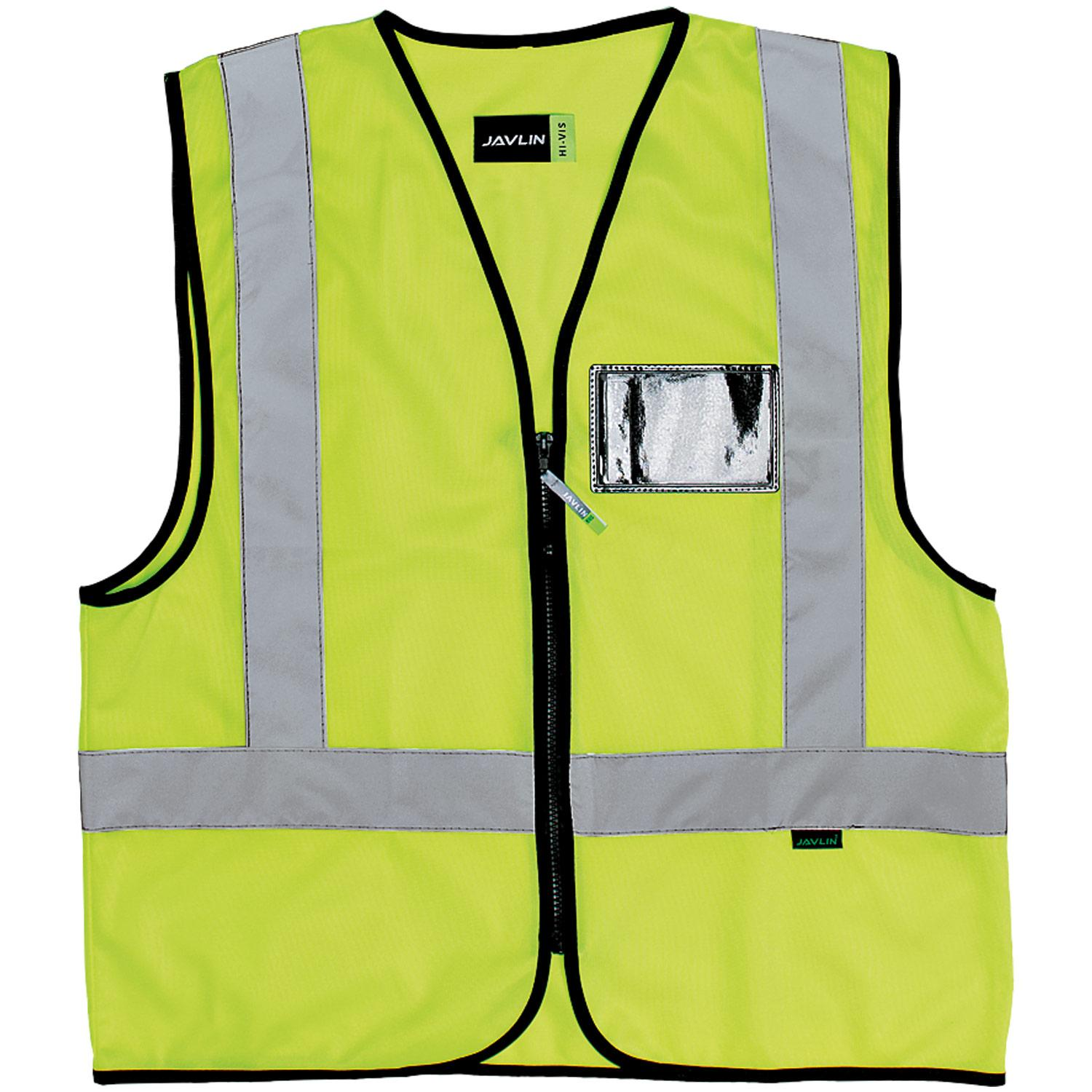 En4 Style Trichot Solid Sleeveless Reflective Vest With Zip Lime Id Pocket