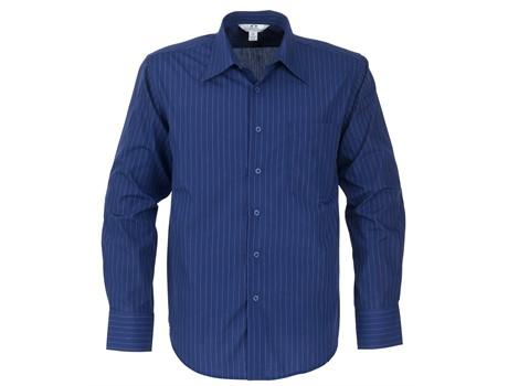 Mens Long Sleeve Manhattan Striped Shirt - Blue Only