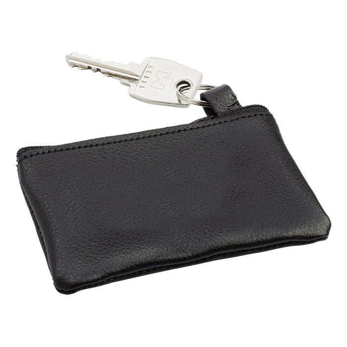 Bb2762 - Leather Zippered Pouch With Split Ring
