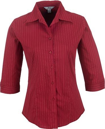 Ladies 3/4 Sleeve Manhattan Striped Shirt