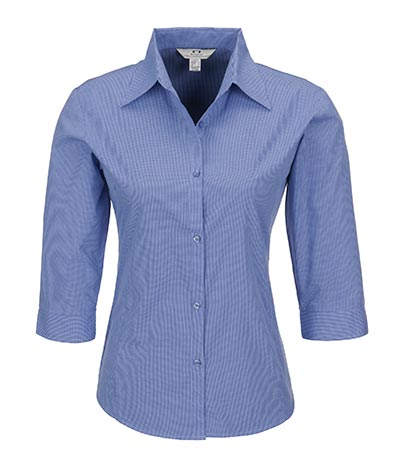 Ladies 3/4 Sleeve Micro Check Shirt