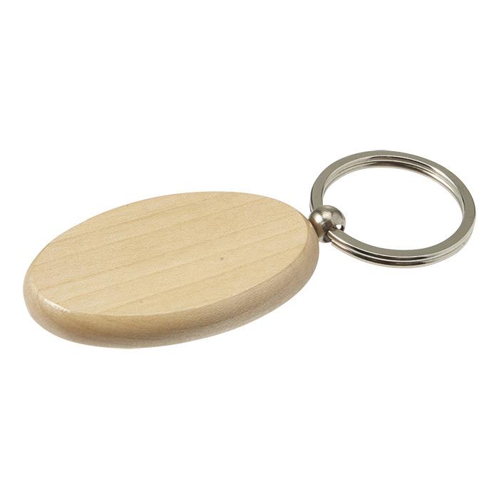 Bk7300 - Oval Wooden Keychain