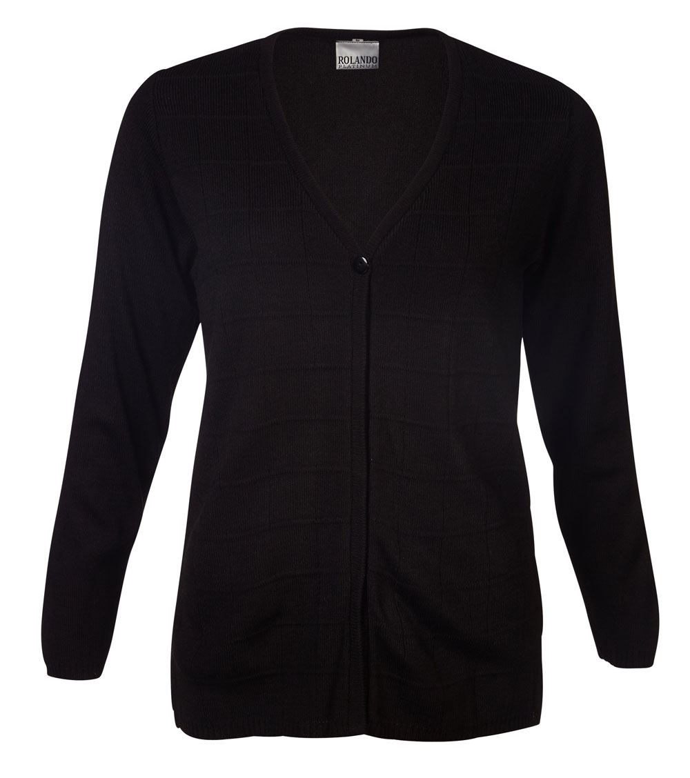 Ladies Deluxe L/s Cardigan - Black