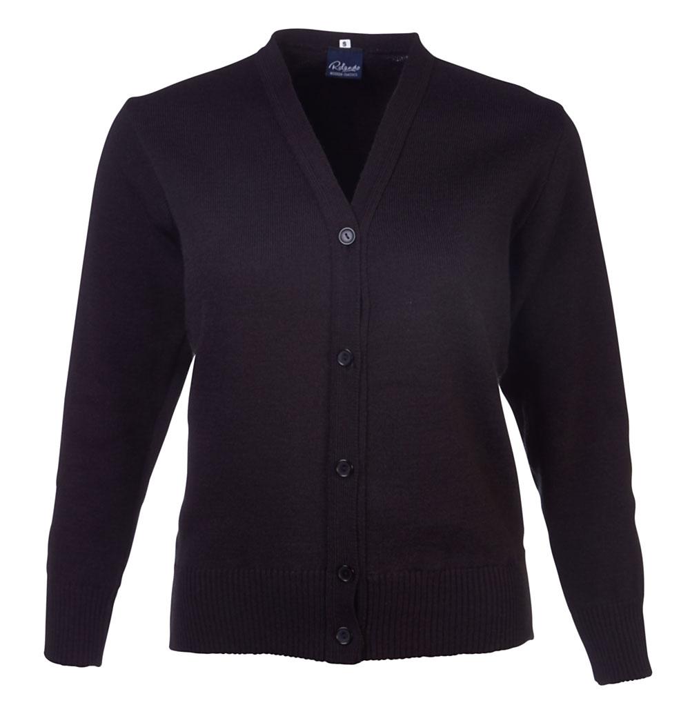 Ladies Basic L/s Cardigan - Black