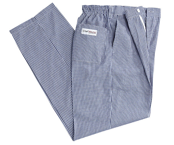 Blue And White Check Chef Pants